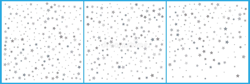 Silver star confetti celebrations. Simple festive modern design. Holiday vector. Set 3 in 1. ÑŽ vector illustration