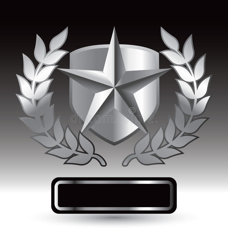Free Silver Star On Shield With Leaves Over Nameplate Royalty Free Stock Image - 11078746