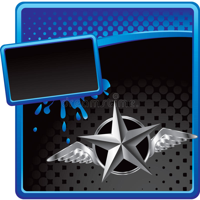 Download Silver Star With Wings On Halftone Advertisement Stock Vector - Image: 11389019