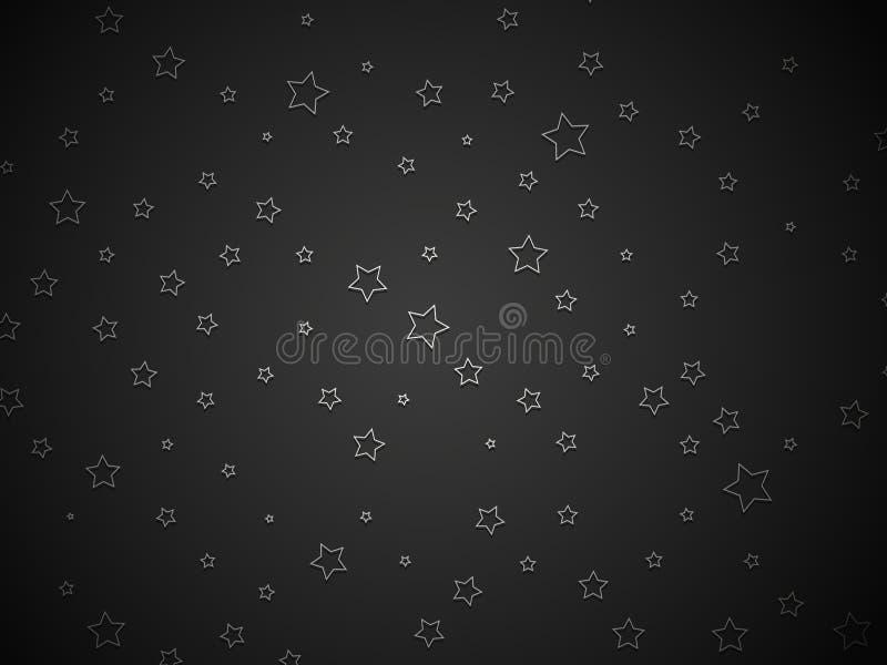 Silver stars on black background. Modern style vector illustration