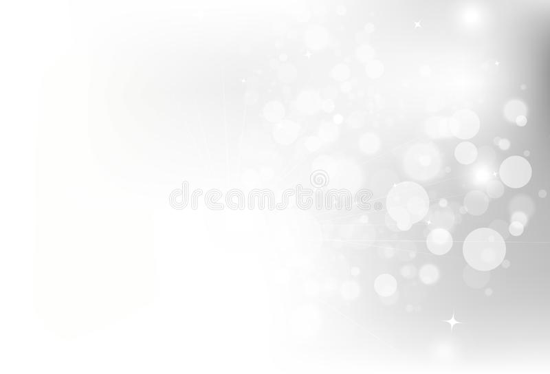 Silver, stars Bokeh glowing glitter sparkle decoration for Chris vector illustration
