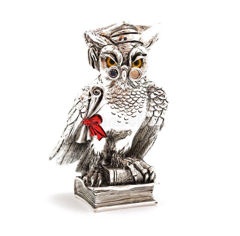Silver statuette wisdom owl stock photos