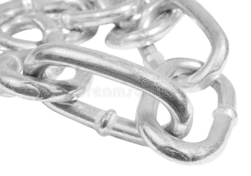 Silver steel chain. Silver steel linked chain macro stock images
