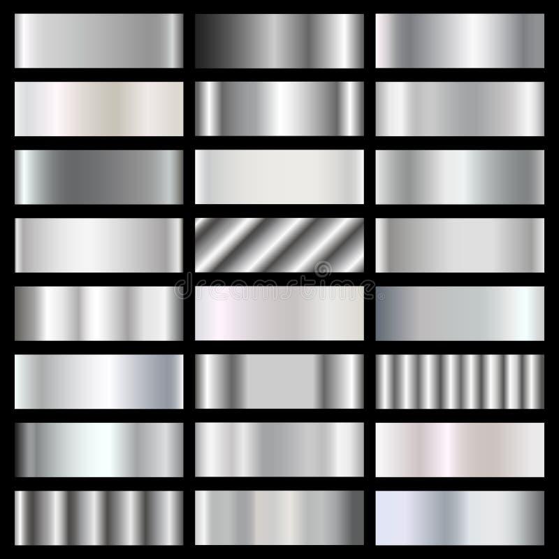 Silver, steel, chrome gradients vector set vector illustration