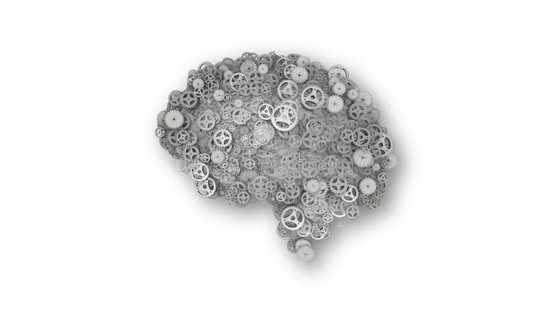 Stell cogwheel brain built from gears with shadow  - 3D illustration. Silver steel cogs and gears in the shape of a brain illustrating artificial intelligence stock illustration