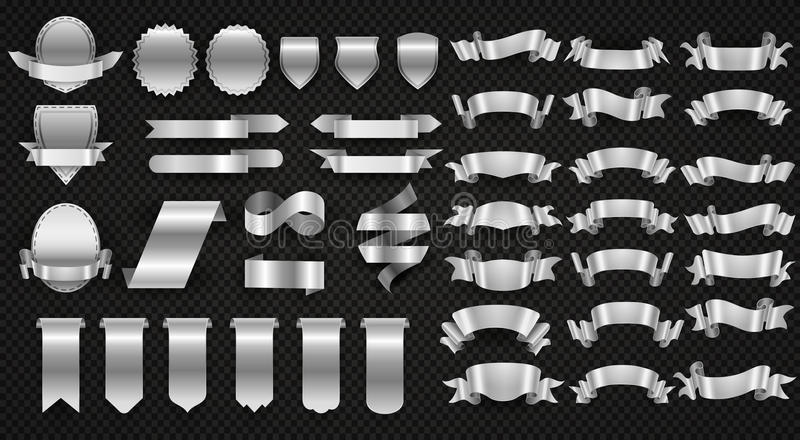 Silver and steel ribbons, metal wrapping banners vector set stock illustration