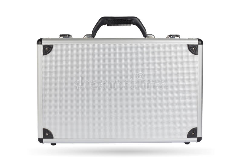 Silver steel suitcase isolated on white background. royalty free stock photography