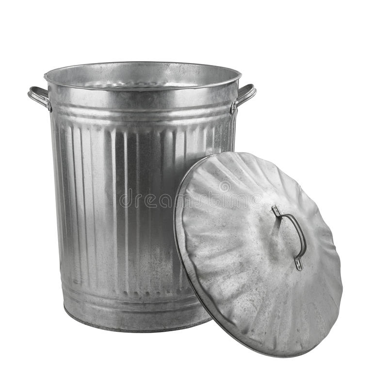 Silver steel trash can royalty free stock photography