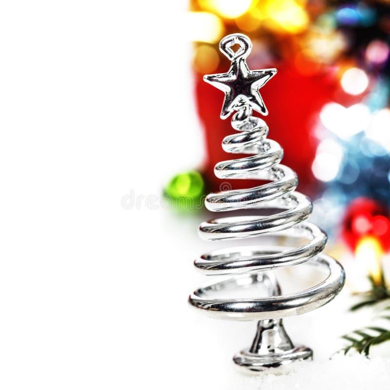 Silver stiliserad julgran arkivfoto