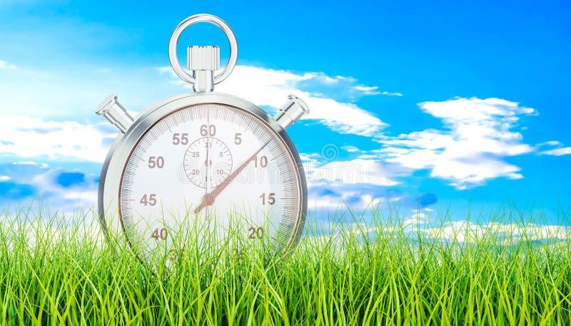 Silver stopwatch, chronometer on green grass. 3D rendering vector illustration