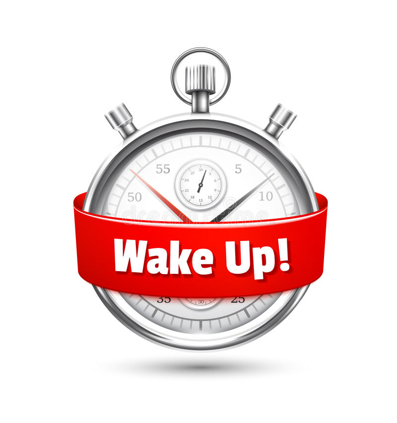 Silver stopwatch with a message urging to wake up royalty free illustration