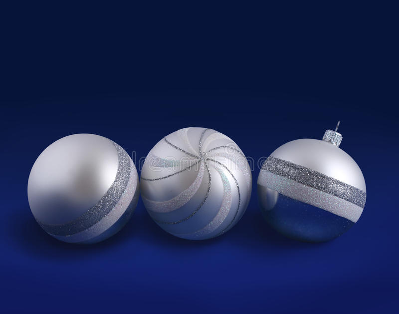 Silver Christmas balls stock photography