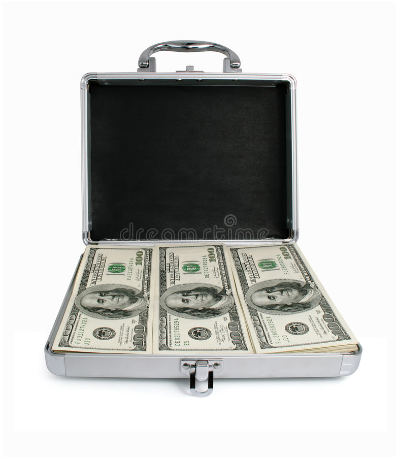 Silver suitcase with money dollars isolated royalty free stock photo