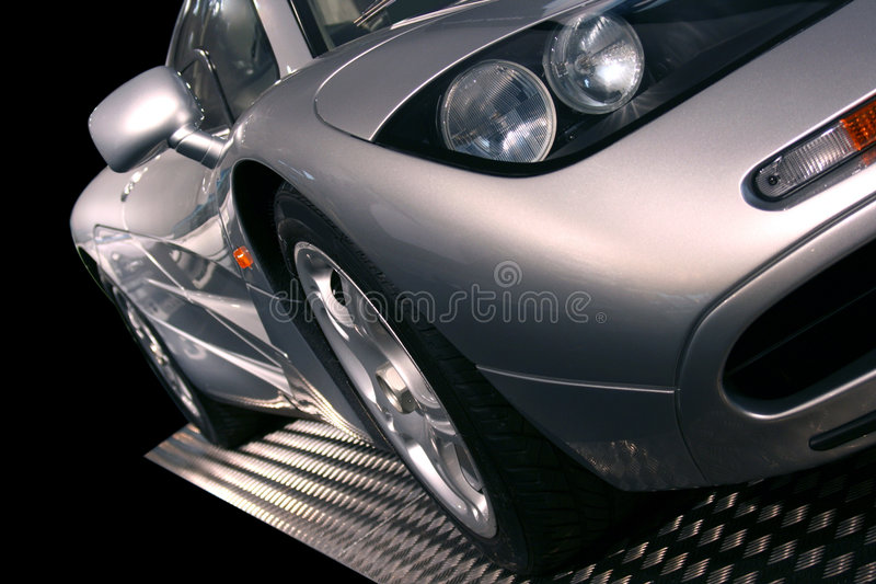 Silver supercar stock image