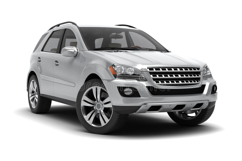 Silver SUV. On a white background royalty free stock photos
