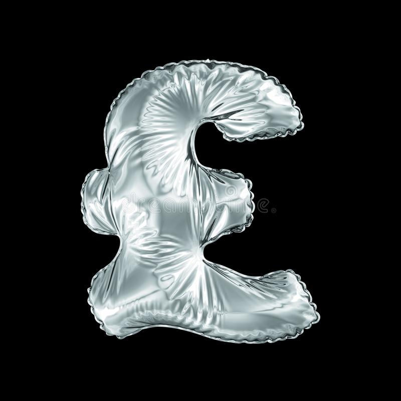 Silver symbol pound sterling made of inflatable balloon isolated on black background. stock illustration