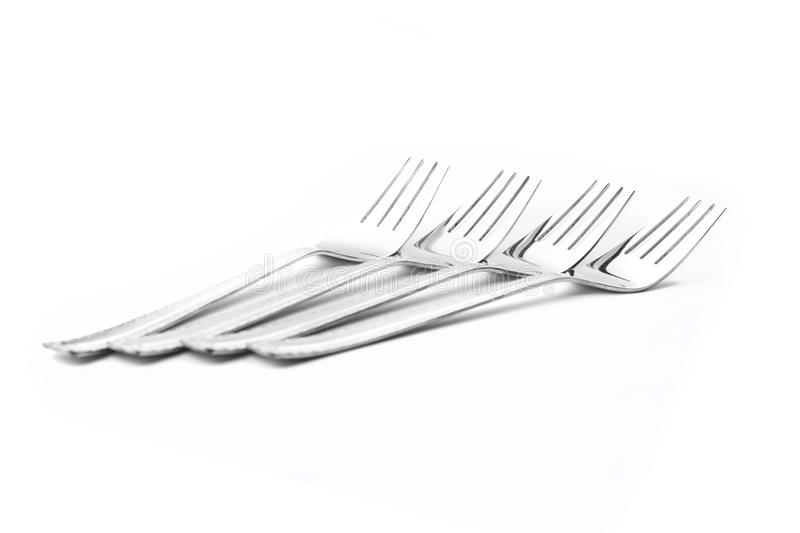 Silver Tableware. On white isolated background royalty free stock images