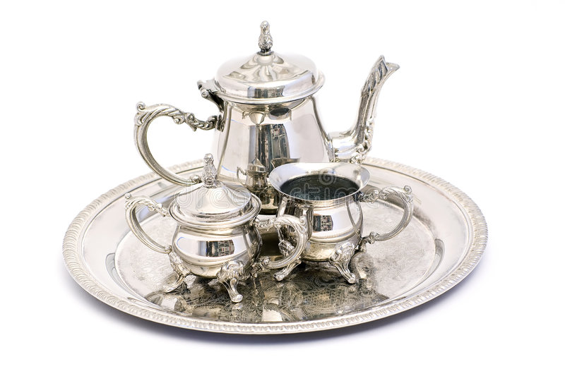 Silver tea set royalty free stock photography