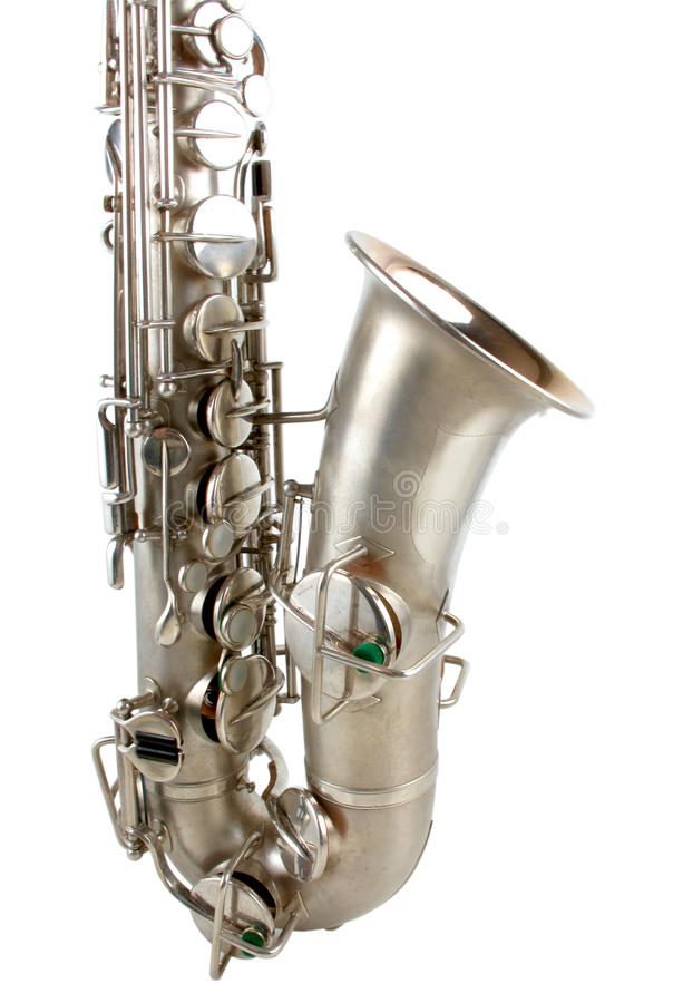 Silver tenor sax. Close up view of a beautiful tenor sax on white royalty free stock image