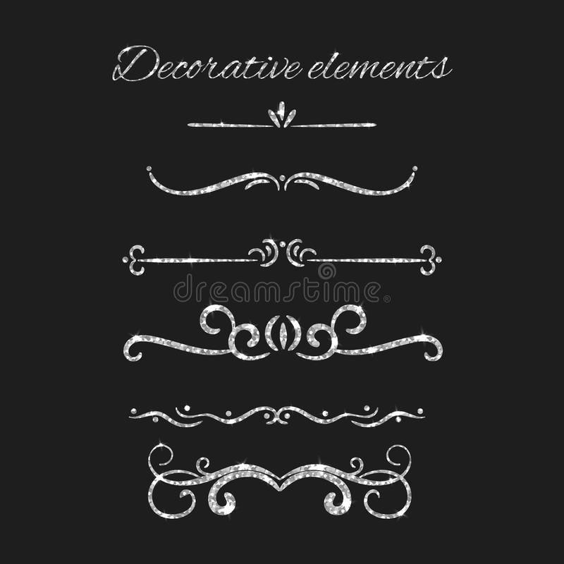 Silver text dividers set. Ornamental decorative elements. Vector ornate elements design. Silvery flourishes. Shiny royalty free illustration