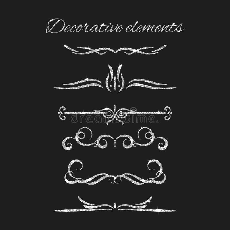 Silver text dividers set. Ornamental decorative elements. Vector ornate elements design. Silvery flourishes. Shiny vector illustration
