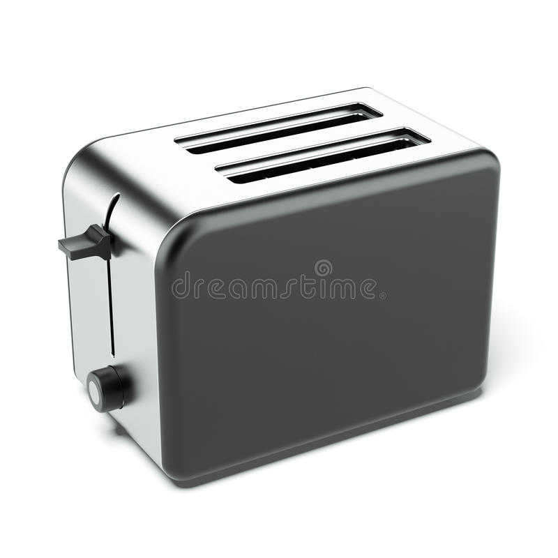 Silver toaster. Isolated on a white background. 3d render stock photos