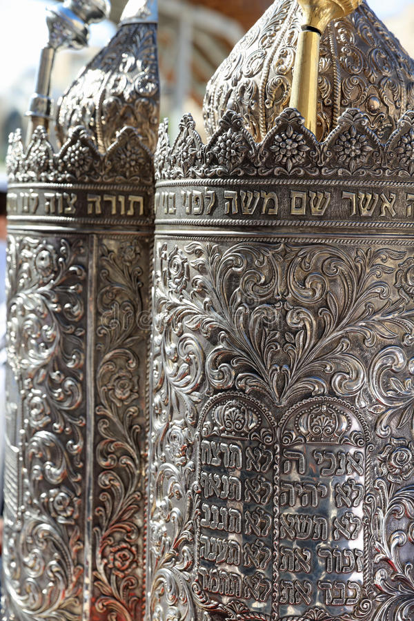 Silver Torah Case at Bar Mitzvah Ceremony stock photography