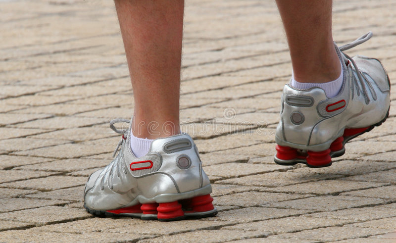 Silver Trainers royalty free stock photography