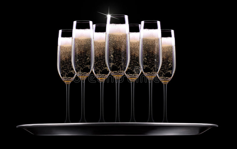 Download Silver tray with champagne stock photo. Image of gold - 35721820