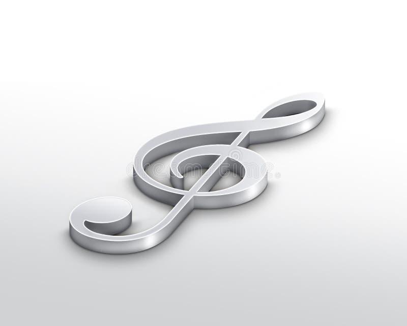 Download Silver treble clef stock illustration. Illustration of instrument - 11051583