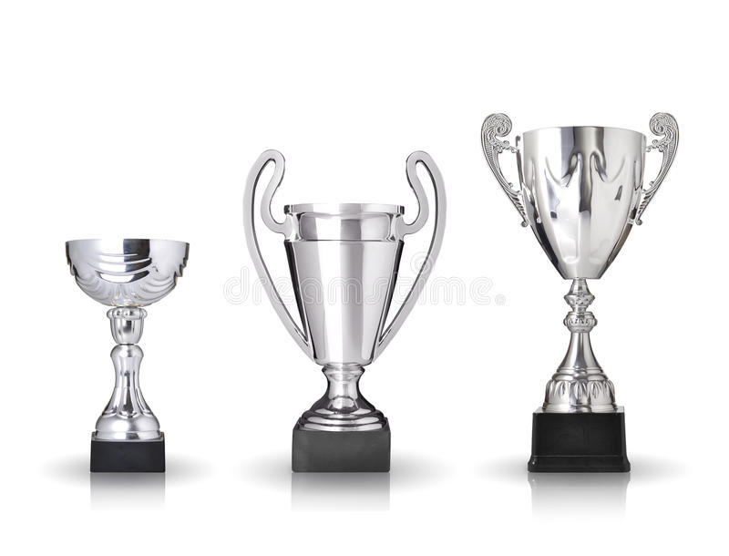 Silver Trophies Stock Photo