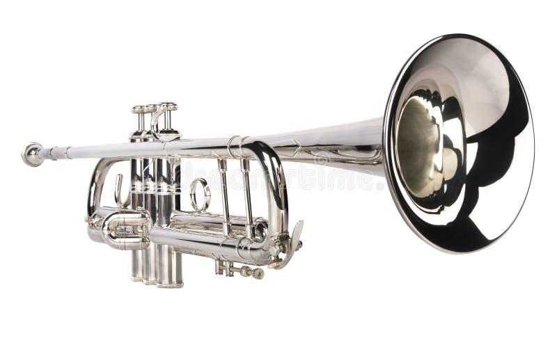 Silver trumpet stock photo