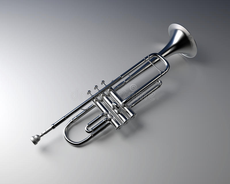 Silver trumpet. With gradient background. Jazz music instrument stock illustration
