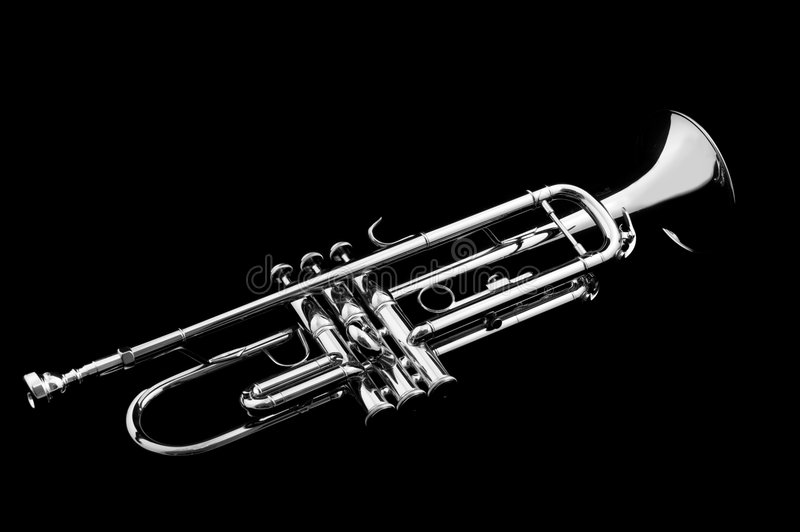 Silver trumpet stock images