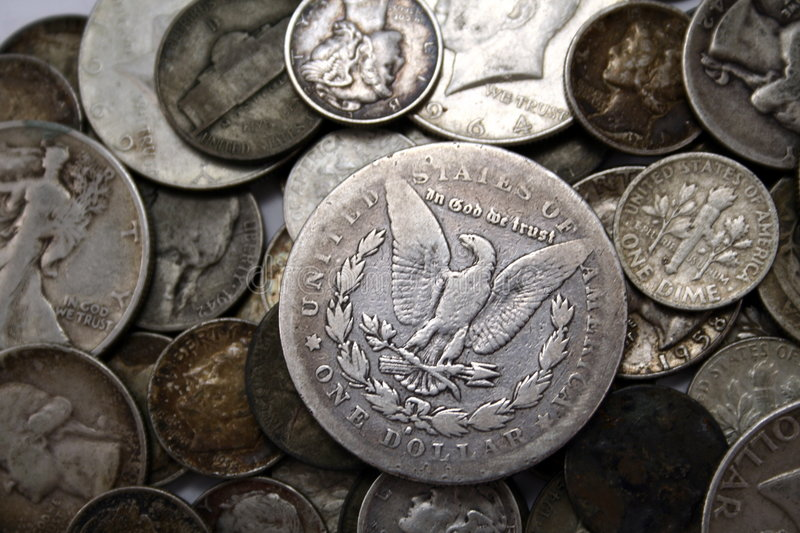 Silver US Coins. Old Unites States silver coins royalty free stock image