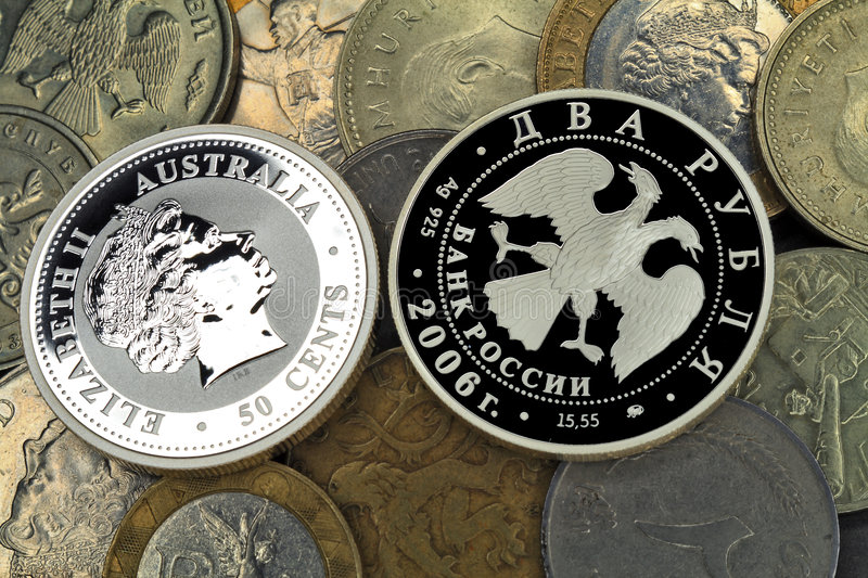 Download Silver and usual coins stock photo. Image of financial - 7664414