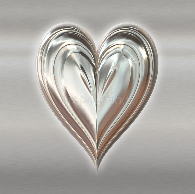 Free Silver Valentines Metal Heart Stock Photography - 4025912