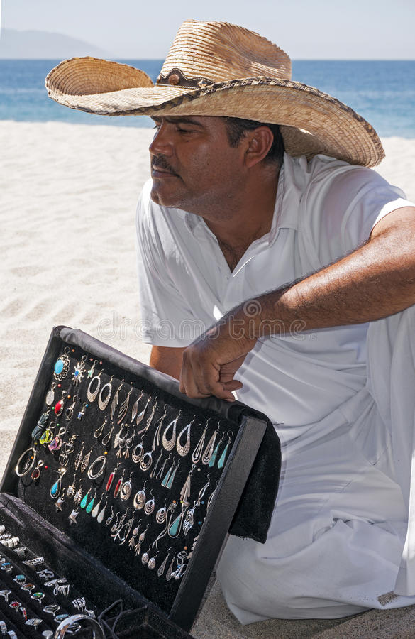 Silver Vendor Playa Las Estacas Mexico Stock Photo