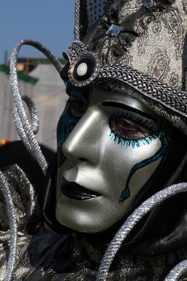 Silver venetian mask royalty free stock photo