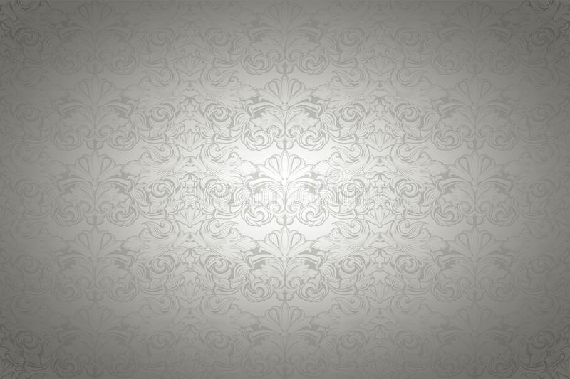 Silver vintage background, royal with classic Baroque pattern. Silver vintage background , royal with classic Baroque pattern, Rococo with darkened edges vector illustration
