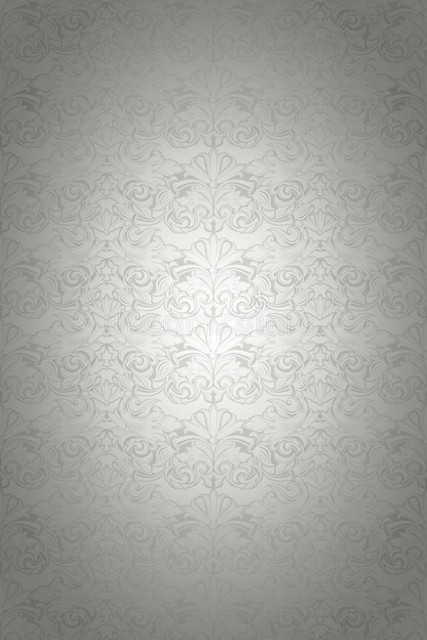 Silver vintage background, royal with classic Baroque pattern. Silver vintage background , royal with classic Baroque pattern, Rococo with darkened edges royalty free illustration