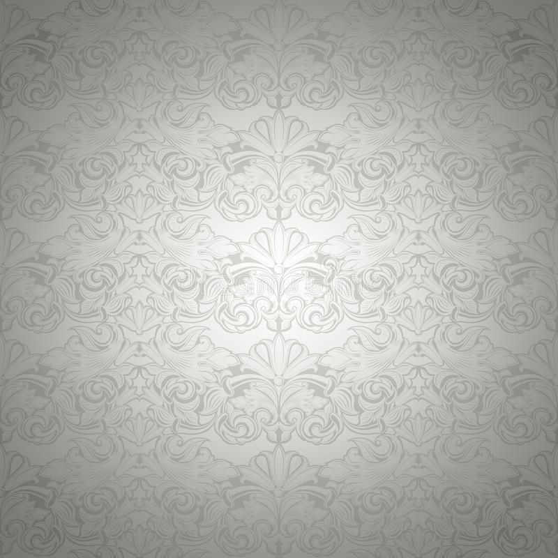Silver vintage background, royal with classic Baroque pattern. Silver vintage background , royal with classic Baroque pattern, Rococo with darkened edges stock illustration
