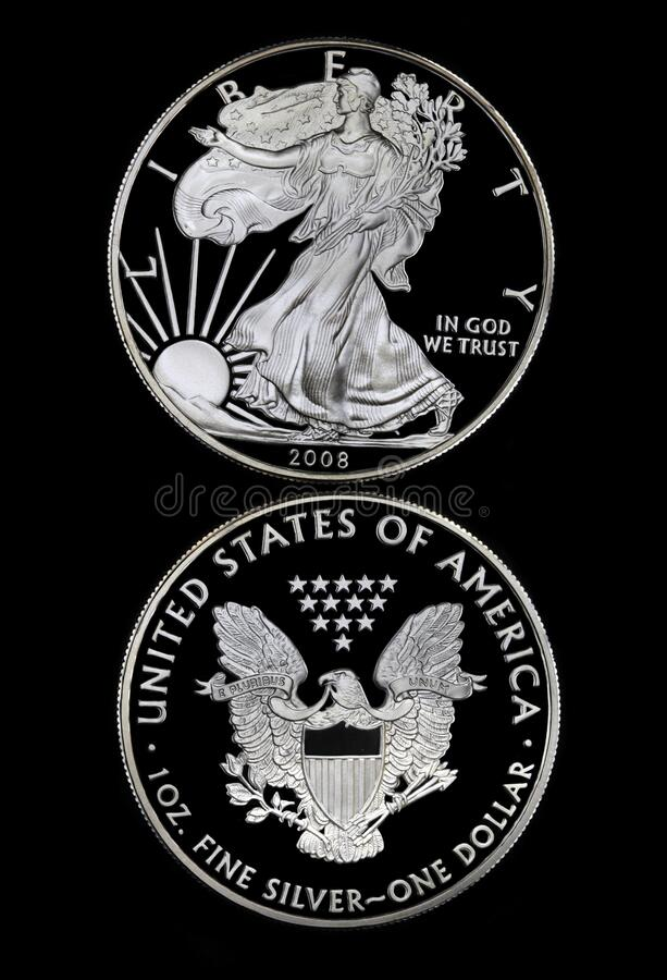 Silver Walking Liberty Coin royalty free stock images