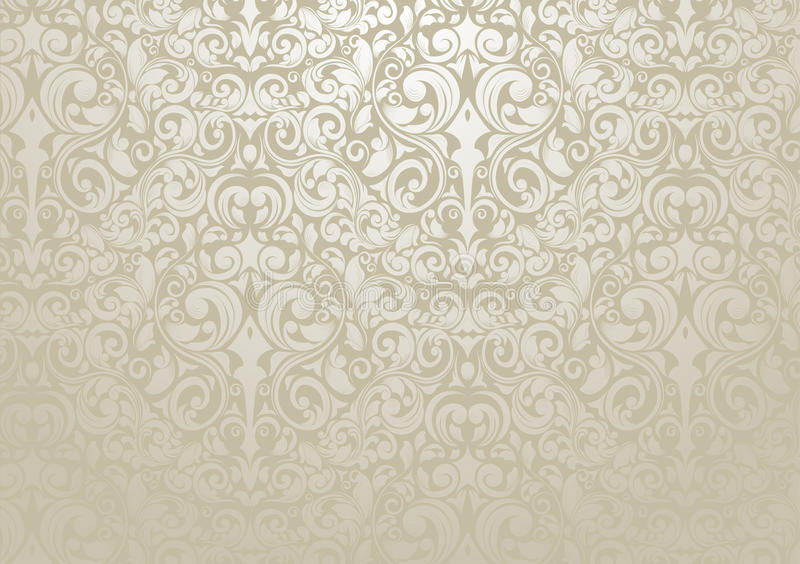 Silver Wallpaper. Flourishes - decorated wallpaper with silver - kind tones