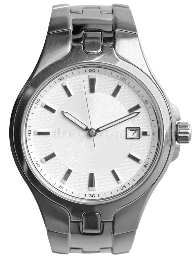 Silver watch. Over white background royalty free stock photography