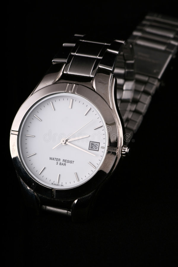 Silver watch stock image