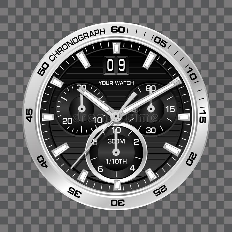 Silver watch clock chronograph face luxury on grey checkered background vector. Illustration royalty free illustration