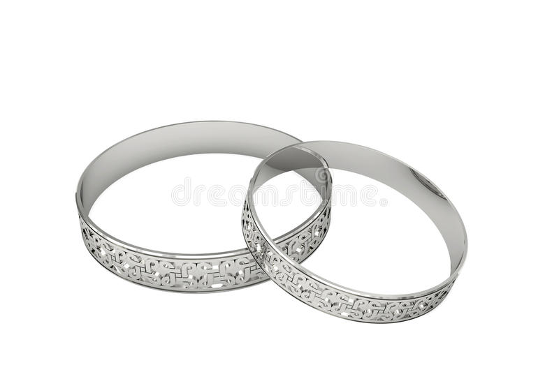 Download Silver Wedding Rings With Magic Tracery Stock Illustration