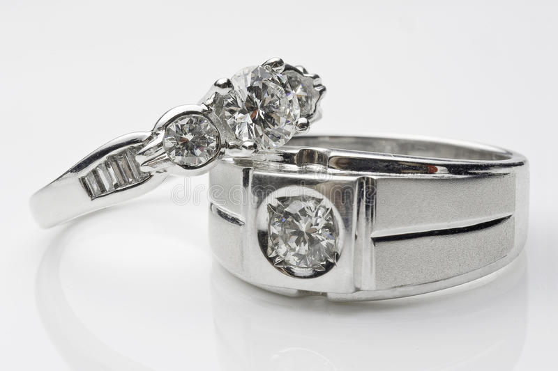 Silver wedding rings stock photography