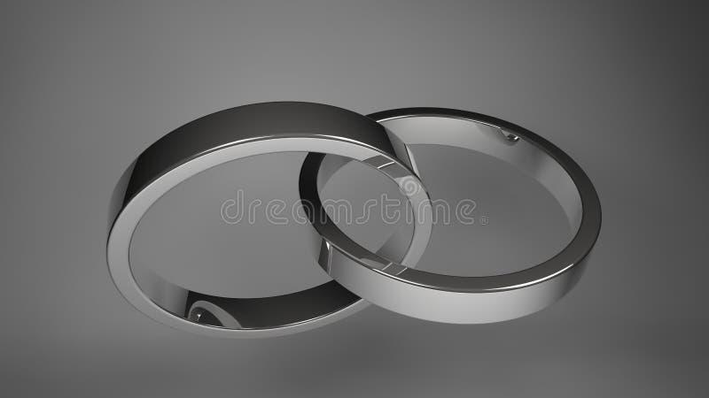 Silver wedding rings. Rendering silver wedding rings royalty free illustration